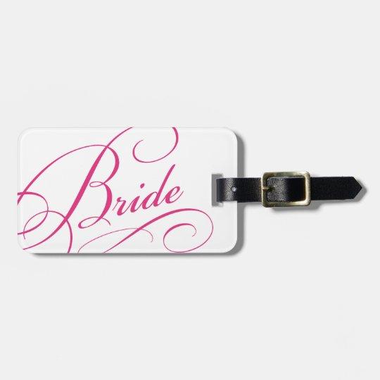 Pink bride sweet romantic honeymoon luggage tag