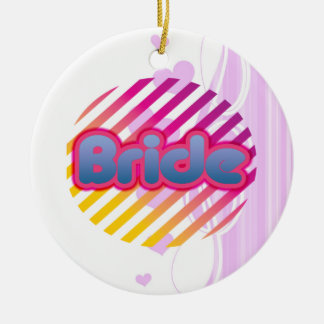 pink bride to be bachelorette wedding bridal party round ceramic decoration