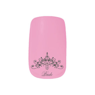 Pink, bride with a crown, minx nail art