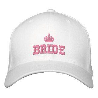Pink bride with crown embroidered baseball caps