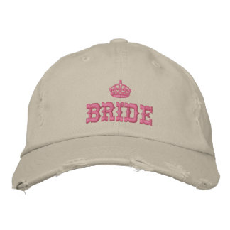 Pink bride with crown embroidered cap