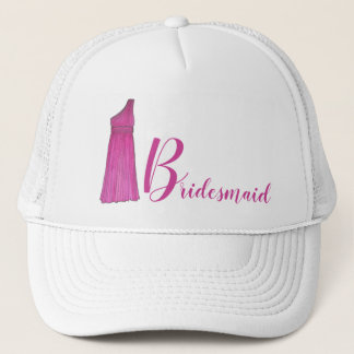 Pink Bridesmaid Bridal Party Gown Wedding Gift Trucker Hat