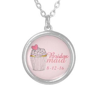 Pink Bridesmaid Cupcake Wedding Gift Necklace