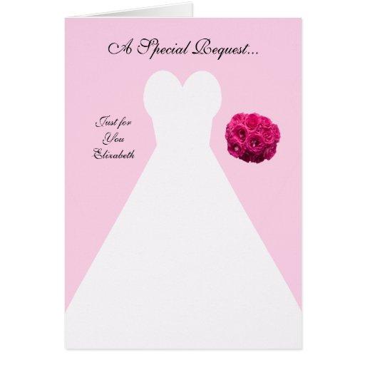 Pink Bridesmaid Invitation Card -- Bridal Gown