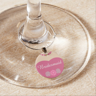 Pink Bridesmaid Wedding Wine Charm