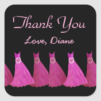 Pink Bridesmaids Thank You Bridal Shower A05 Square Sticker