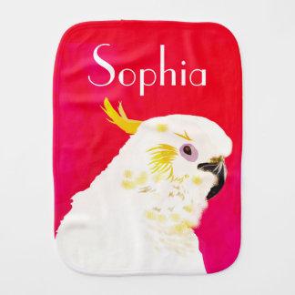 Pink Bright Cockatoo Bird Named Burp Cloth