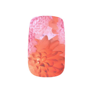 Pink Bright Floral Nails Minx Nail Art