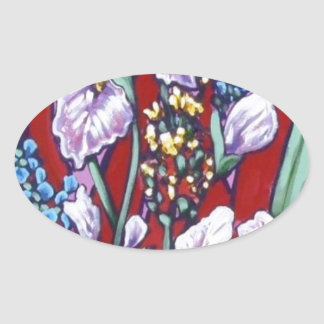 pink bright iris floral oval sticker