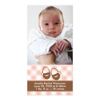 Pink/Brown Baby Booties - Photocard Announcement Photo Card Template