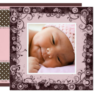 Pink & Brown Baby Girl Birth Announcement