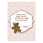 Pink Brown Bear Baby Shower diaper raffle tickets Business Cards