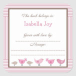 Pink Brown Birds Baby Shower Penelope Book Plate