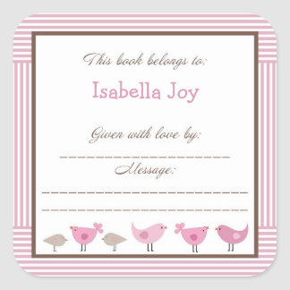 Pink Brown Birds Baby Shower Penelope Book Plate Square Sticker