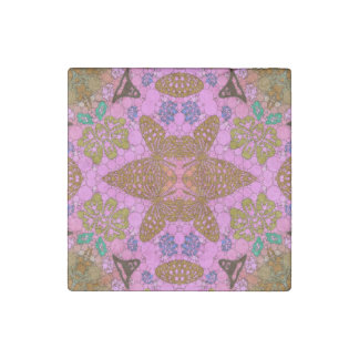 Pink Brown Butterfly Abstract Stone Magnet