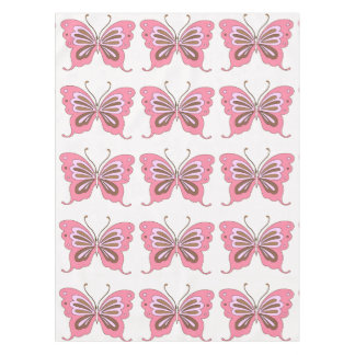 Pink Brown Butterfly Tablecloth