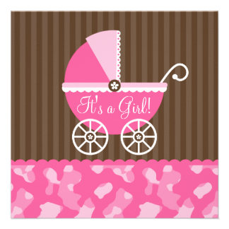 Pink Brown Carriage Camo Girl Baby Shower Invitations