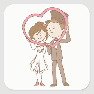 Pink & Brown Cartoon Bride & Groom Wedding Square Sticker
