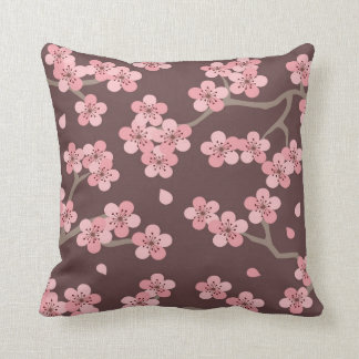 Pink Brown Cherry Blossom Pillow