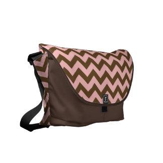 Pink & Brown Chevron Pattern Commuter Bag
