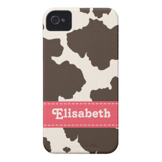 Pink Brown Cow Print iPhone 4 4s Case-Mate Cover iPhone 4 Case-Mate Case