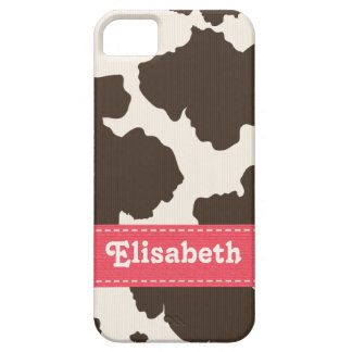 Pink Brown Cow Print iPhone 5 Covers