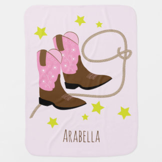 Pink & Brown Cowgirl Boots & Rope, Personalized Baby Blanket