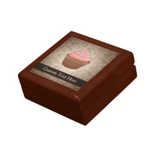 Pink/Brown Cupcake Small Square Gift Box