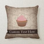 Pink/Brown Cupcake Throw Pillows