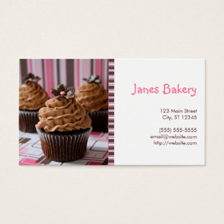Pink & Brown Cupcakes Business Card