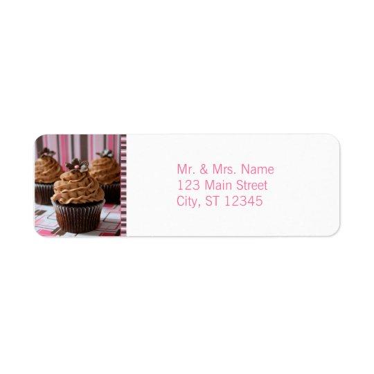 Pink & Brown Cupcakes Return Address Label