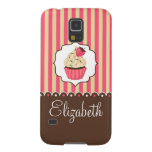 Pink & Brown Cute Cupcake With Custom Name Galaxy S5 Case
