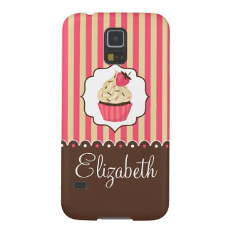 Pink & Brown Cute Cupcake With Custom Name Galaxy S5 Covers