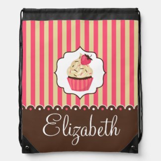 Pink & Brown Cute Cupcake With Custom Name Cinch Bag