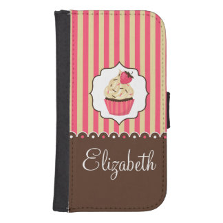 Pink & Brown Cute Cupcake With Custom Name Phone Wallet Cases