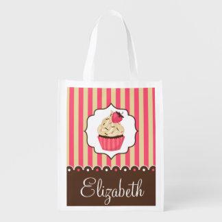 Pink & Brown Cute Cupcake With Custom Name
