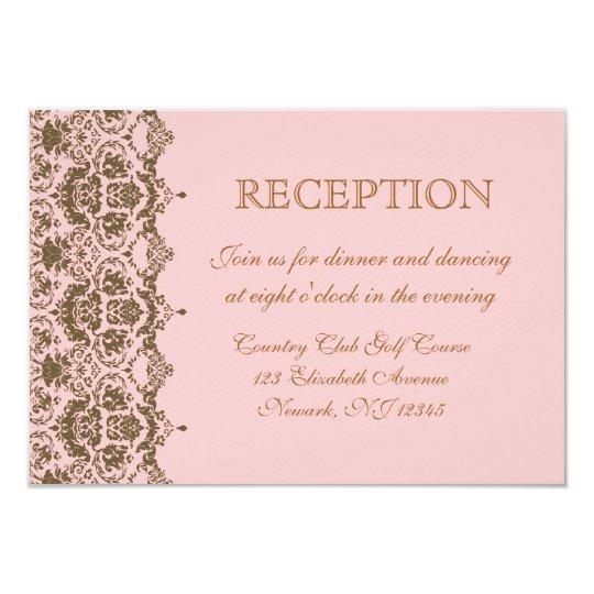 Pink Brown Damask Wedding Reception Invitation