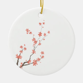 Pink brown dogwood branch left side round ceramic decoration