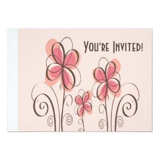 Pink & Brown Doodle Flowers Design 13 Cm X 18 Cm Invitation Card