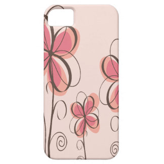 Pink & Brown Doodle Flowers Design Barely There iPhone 5 Case