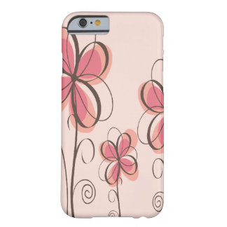 Pink & Brown Doodle Flowers Design Barely There iPhone 6 Case