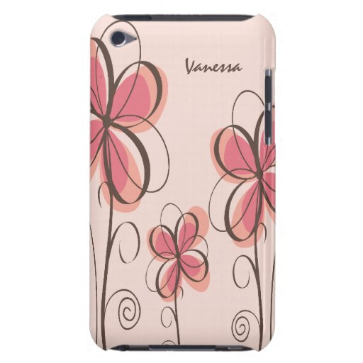 Pink & Brown Doodle Flowers Design iPod Touch Covers