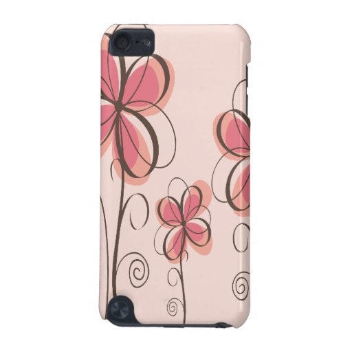 Pink & Brown Doodle Flowers Design iPod Touch 5G Cases