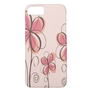 Pink & Brown Doodle Flowers Design iPhone 8/7 Case