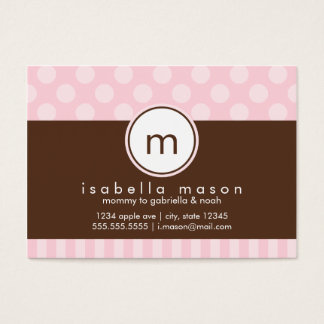 Pink & Brown Dots & Stripes Mommy Card