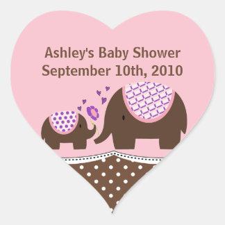 Pink & Brown Elephant Baby Shower Heart Sticker