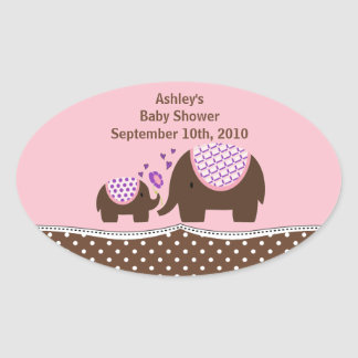 Pink & Brown Elephant Baby Shower Oval Sticker