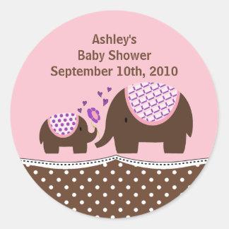 Pink & Brown Elephant Baby Shower Sticker