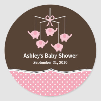 Pink & Brown Elephant Mobile Baby Shower Round Sticker
