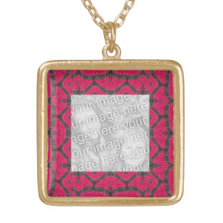 pink brown fancy pattern necklaces